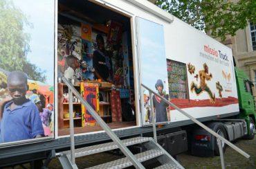 Foto Foto des missio-Trucks, Wanderausstellung zu Flucht